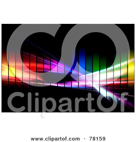 Royalty-Free (RF) Clipart Illustration of a Colorful Pixel Rainbow Fractal Swoosh On Black by Arena Creative