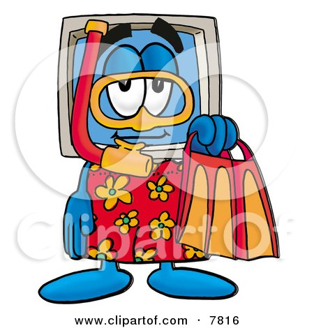 Clipart Picture of a Desktop Computer Mascot Cartoon Character in Orange and Red Snorkel Gear by Toons4Biz