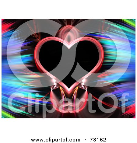 Royalty-Free (RF) Clipart Illustration of a Heart Framed With Colorful Feathery Fractals On Black by Arena Creative