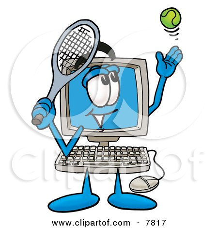 Desktop Computer Mascot Cartoon Character Preparing to Hit a Tennis Ball Posters, Art Prints