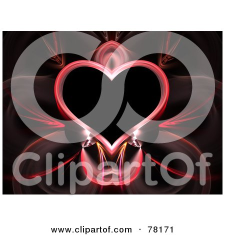 Royalty-Free (RF) Clipart Illustration of a Elegant Pink Heart Fractal On Black by Arena Creative