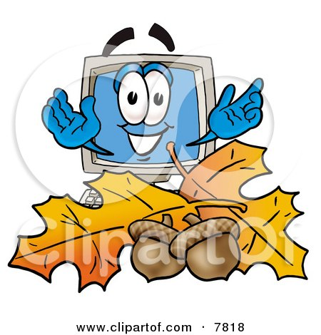 Desktop Computer Mascot Cartoon Character With Autumn Leaves and Acorns in the Fall Posters, Art Prints
