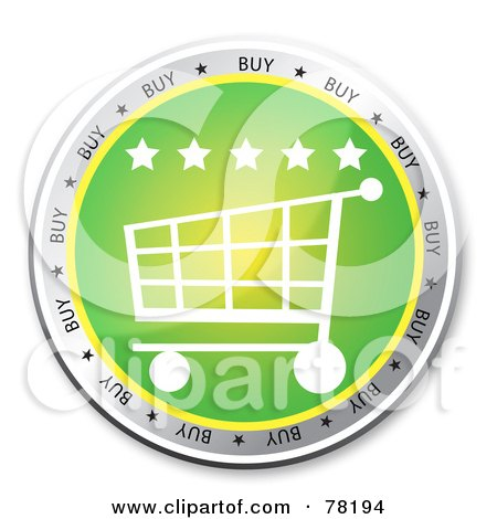Royalty-Free (RF) Clipart Illustration of a Green Shopping Cart Website Button With Stars by MacX