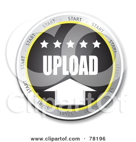 Royalty-Free (RF) Clipart Illustration of a Black Upload Website Button With Stars by MacX