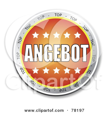 Royalty-Free (RF) Clipart Illustration of an Orange Angebot Website Button With Stars by MacX