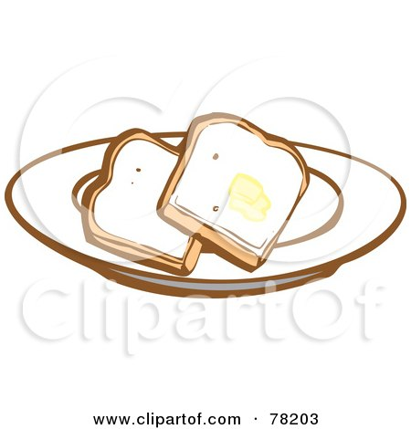 Royalty-Free (RF) Clipart Illustration of Two Slices Of White Bread Toast With Butter On A Plate by xunantunich