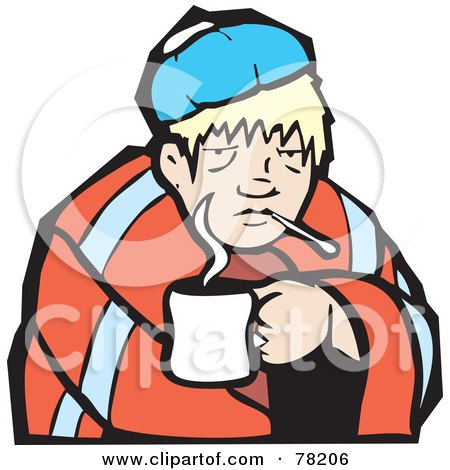 Royalty-Free (RF) Clipart Illustration of a Sick Blond Man Cuddled With A Cup Of Tea And A Blanket by xunantunich