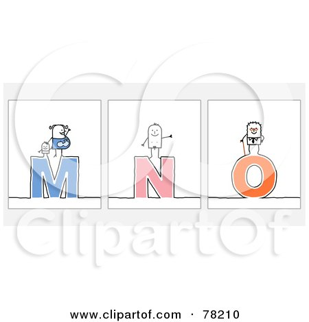 Digital Collage Of Stick People Character Letters; M Through O Posters, Art Prints