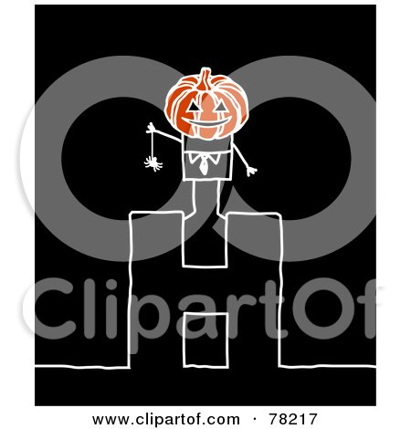 Royalty-Free (RF) Clipart Illustration of a Stick People Halloween Jack Standing On Top Of The Letter H Over Black by NL shop
