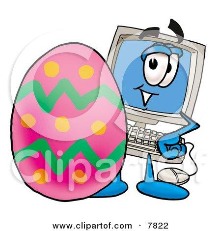 Clipart Picture of a Desktop Computer Mascot Cartoon Character Standing Beside an Easter Egg by Toons4Biz