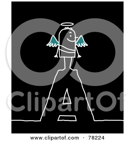 Royalty-Free (RF) Clipart Illustration of a Stick People Angel Standing On Top Of The Letter A Over Black by NL shop