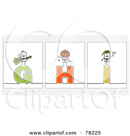Royalty-Free (RF) Clipart Illustration of a Digital Collage Of Stick People Character Letters; G Through I by NL shop