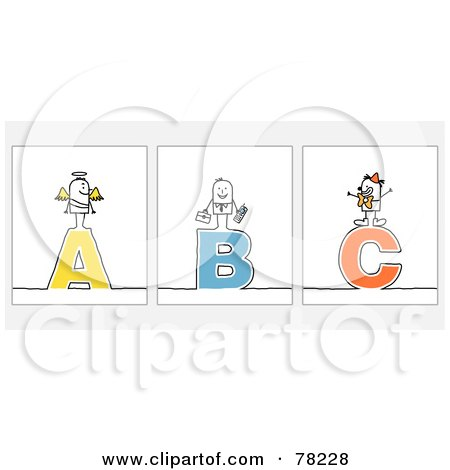 Royalty-Free (RF) Clip Art Illustration of a Digital Collage Of Stick People Character Letters; A Through C by NL shop
