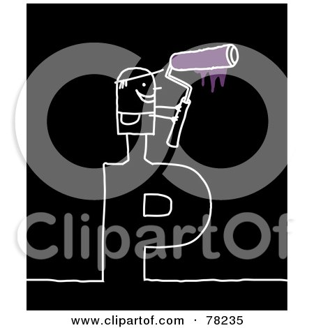 Royalty-Free (RF) Clipart Illustration of a Stick People Painter Standing On Top Of The Letter P Over Black by NL shop