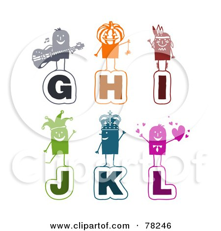 Royalty-Free (RF) Clipart Illustration of a Digital Collage Of Colorful Stick People Alphabet Letters; G Through L by NL shop