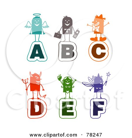 Royalty-Free (RF) Clipart Illustration of a Digital Collage Of Colorful Stick People Alphabet Letters; A Through F by NL shop