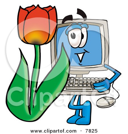 Desktop Computer Mascot Cartoon Character With a Red Tulip Flower in the Spring Posters, Art Prints