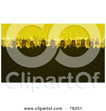 Royalty-Free (RF) Clipart Illustration of a Stick People Party Concert Crowd With Rays Of Light On Yellow by NL shop