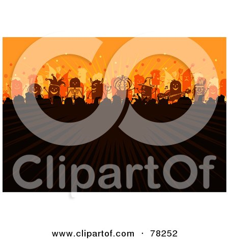 Royalty-Free (RF) Clipart Illustration of a Stick People Halloween Party Concert Crowd With Rays Of Light On Orange by NL shop