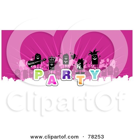 Royalty-Free (Rf) Clipart Illustration Of A Stick People Crowd On The Word Party Over White And Pink by NL shop