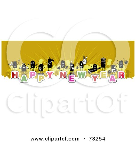 Royalty-Free (Rf) Clipart Illustration Of A Stick People Crowd On The Words Happy New Year Over White And Yellow by NL shop