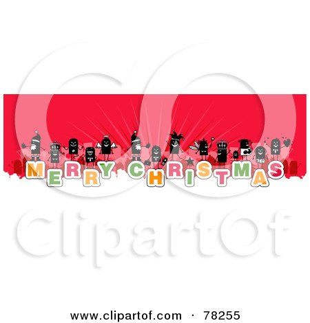Royalty-Free (Rf) Clipart Illustration Of A Stick People Crowd On The Words Merry Christmas Over White And Red by NL shop