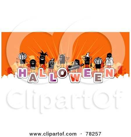 Royalty-Free (RF) Clipart Illustration of a Stick People Crowd On The Word Halloween Over White And Orange by NL shop