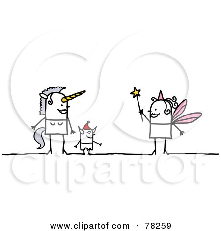 Royalty-Free (RF) Clipart Illustration of a Stick People Unicorn, Devil And Fairy by NL shop