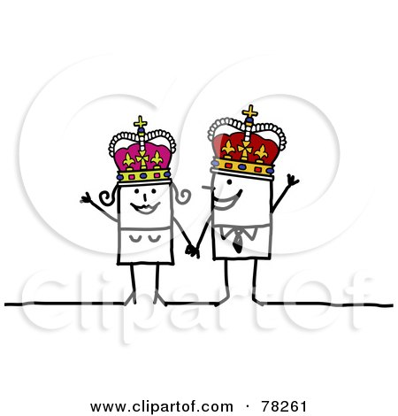 Royalty-Free (RF) Clipart Illustration of a Stick People King And Joker by NL shop