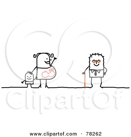 Royalty-Free (RF) Clipart Illustration of a Stick People Mother And Old Man by NL shop