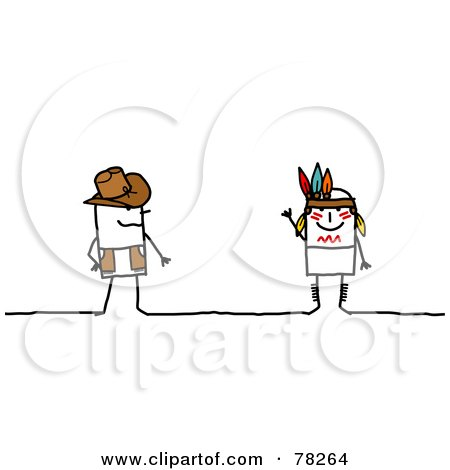 Royalty-Free (RF) Clipart Illustration of a Stick People Cowboy And Indian by NL shop