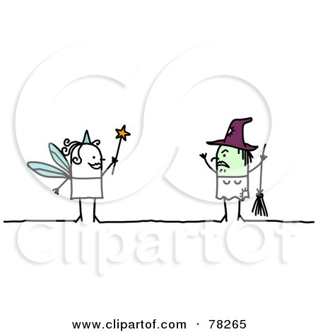 Royalty-Free (RF) Clipart Illustration of a Stick People Fairy Facing A Witch by NL shop