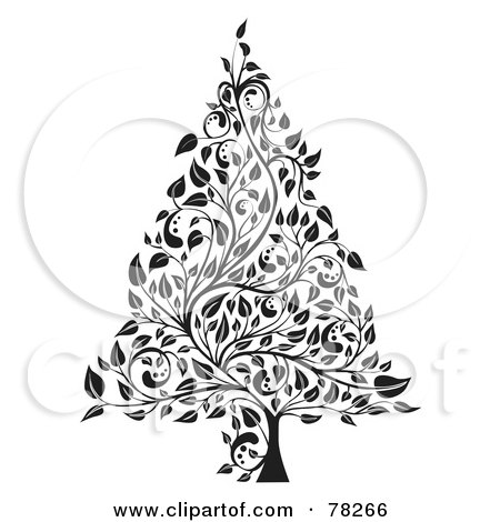 Royalty-Free (RF) Clipart Illustration of a Black And White Elegant Floral Vine Christmas Tree by MilsiArt
