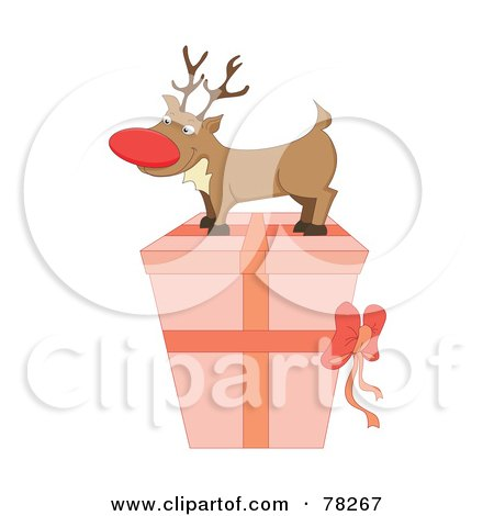 Royalty-Free (RF) Clipart Illustration of a Rudolph On Top Of A Pink Christmas Present by MilsiArt