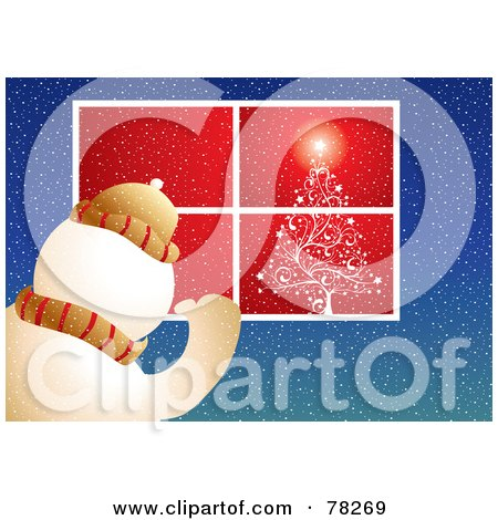 Royalty-Free (RF) Clipart Illustration of a Snowman Peering Into A Window With A Shining Christmas Tree by MilsiArt