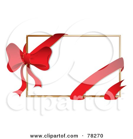 Royalty-Free (RF) Clipart Illustration of a White Gift Card With A Red Ribbon And Bow by MilsiArt