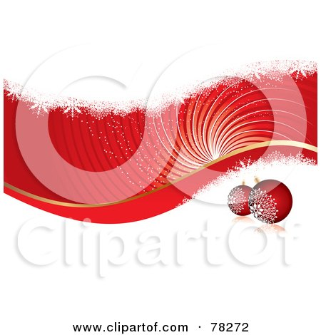 Royalty-Free (RF) Clipart Illustration of a Red And White Christmas Swirl Background With Grunge And Baubles by MilsiArt