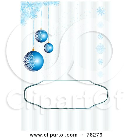 Royalty-Free (RF) Clipart Illustration of a Blue Background With A Text Box And Blue Snowflakes And Christmas Ornaments by MilsiArt