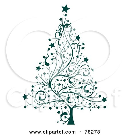 Royalty-Free (RF) Clipart Illustration of a Green Star Floral Christmas Tree by MilsiArt