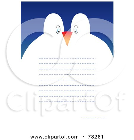 Royalty-Free (RF) Clipart Illustration of a Penguin Couple Greeting Card With Text Lines by MilsiArt
