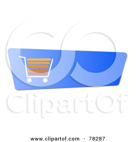 Royalty-Free (RF) Clipart Illustration of a Blue And Orange Shopping Cart Button On White by oboy