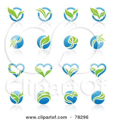 Digital Collage Of Blue And Green Organic Heart And Circle Logos With Reflections Posters, Art Prints