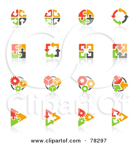 Royalty-Free (RF) Clip Art Illustration of a Digital Collage Of Red, Orange Green And Black Puzzle And Arrow Logos With Reflections by elena