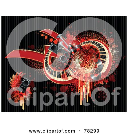 Royalty-Free (RF) Clipart Illustration of a Grungy Red Background Of Splatters, Drips, Speakers, Wings, Stars, And Keyboards On Black by elena