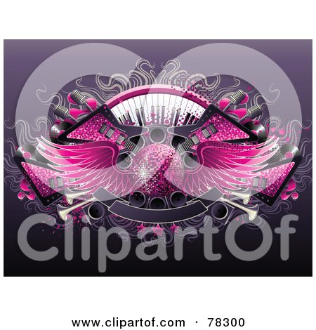 Royalty-Free (RF) Clipart Illustration of a Party Background Of Guitars, Keyboards, Speakers, Banners And A Winged Pink Disco Ball by elena
