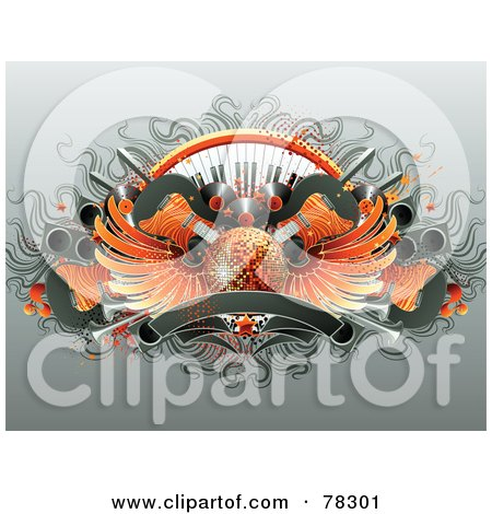 Royalty-Free (RF) Clipart Illustration of a Party Background Of Guitars, Keyboards, Albums, Speakers, Banners And A Winged Orange Disco Ball by elena