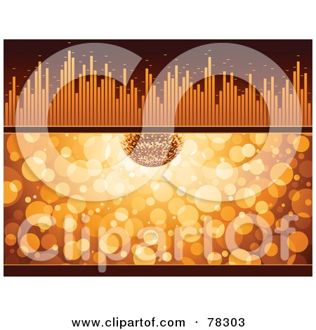Royalty-Free (RF) Clipart Illustration of a Party Disco Ball Over Orange Sparkles With An Equalizer Bar by elena
