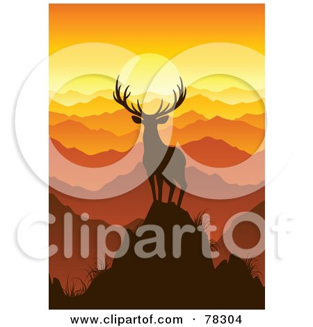 Royalty-Free (RF) Clipart Illustration of a Majestic Silhouetted Buck Deer On Top Of A Mountain, Looking Out Onto Mountain Tops At Sunset by elena