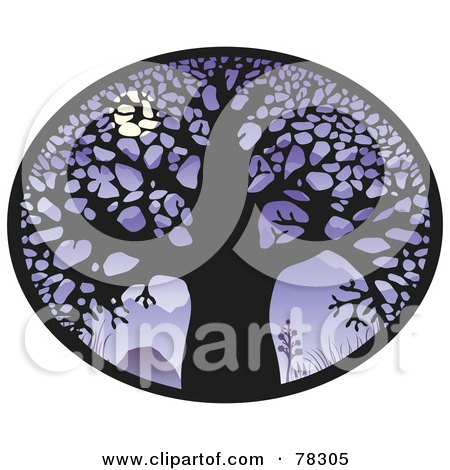 Royalty-Free (RF) Clipart Illustration of an Oval Of A Large Bare Tree Silhouetted Against A Full Moon On Purple by elena
