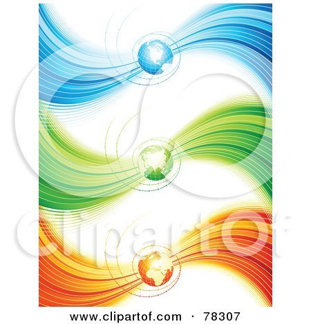 Royalty-Free (RF) Clipart Illustration of a Digital Collage Of Three Blue, Green And Orange Wave Spiral Globe Website Headers by elena